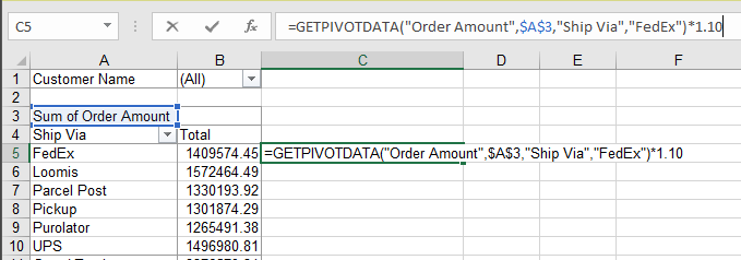Pivot Table Function GETPIVOT